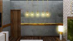 villa interiors for jain family Concrete Finishes, Contemporary Bedroom, Architects, Wall Lights, Villa, Interior Design, Detail, Lighting, Gold