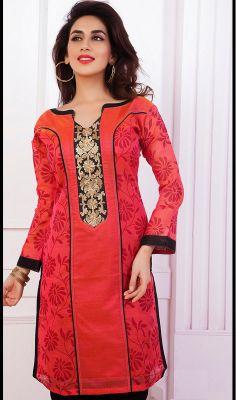 Red Chanderi Cotton Silk Kurti #kurtas Price: British UK Pound £31, Euro39, Canada CA$59 , Indian Rs.2916