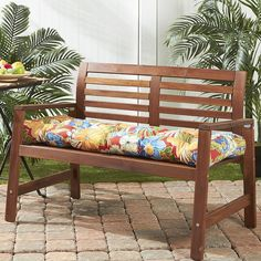 Greendale Home Fashions Outdoor Porch Swing or Bench Cushion - Long, Blue Bench Cushions, Outdoor Cushions, Outdoor Fabric, Indoor Outdoor, Outdoor Decor, Patio Bench, Porch Swing Cushions, Balcony Bench, Garden Benches