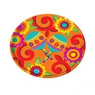 Maracas and floral designs cover the Fiesta Round Platter in beautiful orange, red, yellow, and light blue. Perfect for your Cinco de Mayo event. Party Platters, Serving Platters, Mexican Fiesta Party, Fiesta Theme Party, Costume Halloween, Easy Chile Relleno Recipe, Red Color Schemes, Fiestas Party, Fiesta Decorations