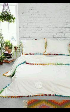 URBAN OUTFITTERS MAGICAL THINKING WHITE POM FRINGE DUVET COVER QUEEN FULL in Home & Garden, Bedding, Duvet Covers & Sets | eBay
