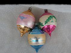 3 Vintage Poland Teardrop Christmas Ornaments