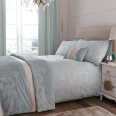 Love this. Great inspiration for my new bedroom look - duck egg and cookie dough colours. :)   Duck Egg Nina Bedlinen #duvet #bed #home #dunelm from £29.99