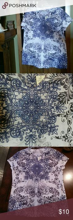 Cato's printed shirt w/ lite sequins... sz L L : white shirt w/ blue, black, & gray print... center design has clear & blue sequins  cap sleeves..NWT...  new $16. Asking $ 10. OBO Cato's Tops Blouses