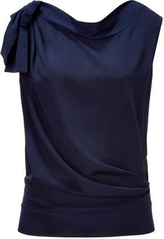 Alberta Ferretti Navy Draped Silk Top