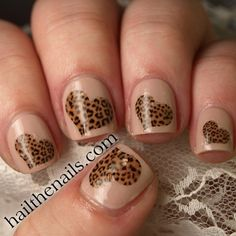 Leopard Print Hearts Nail Art Water Transfer Decal by Hailthenails, £1.99