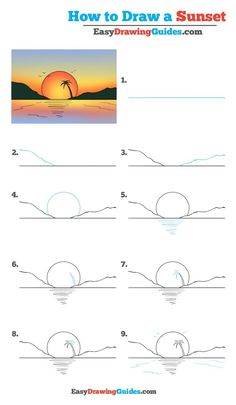 How to Draw a Sunset - Really Easy Drawing Tutorial drawing for kids - Drawing Tips Easy Drawing Tutorial, Easy Drawing Steps, Step By Step Drawing, Drawing Tips, Drawing Ideas, Drawing Drawing, Learn Drawing, Easy Steps To Draw, Easy Thing To Draw