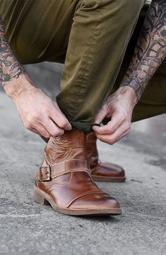 Looking for a boot to match any pant color this fall? Try out these handmade tan leather shoes by BEDSTU. Wear with denim or dare to spice up your color palette with army green.
