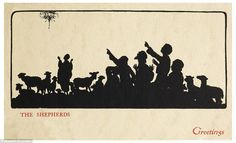Watched their flocks by night: This Victorian Christmas card shows shepherds pointing at a...
