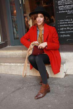 Christina Cardona wearing vintage shoes and a Paul and Joe jacket. Paris, March 2013