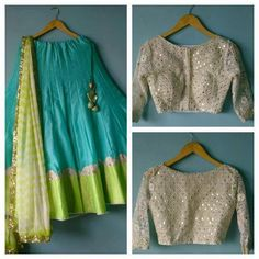Turqouise #Lehenga With Green Dupatta & Border & Off-White Embellished #Blouse.