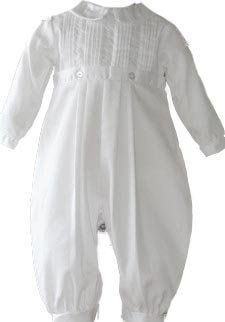 $51.95-$58.00 Baby White Classic pique longall with coordinating hat.  This traditional one-piece cotton blend outfit includes pintucks and simple embroidery for added elegance.  Perfect for a Christening, Baptism, Blessings and special occasions.