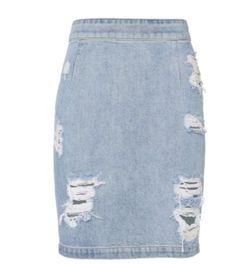 27d5d165ffbe94 Jeans Rock Outfits, Jeans Minirock, Schlitzrock, Denim Im Distressed Look,  Polyvore,