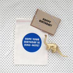 Dinosaur Birthday Card Bag | PaperBeatsRock1 on Etsy | $13.00