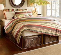 pottery barn bed with storage....