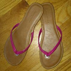 Banana republic sandal. Hot pink  sandal very cute, & chic it size 7 but fits like a 6 1/2. Banana Republic Shoes