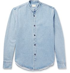 Simon Miller's 'Monte' is a rugged take on the classic chambray shirt. Cut in a regular fit, it's finished with a grandad collar and troca shell buttons. Dare to wear it with jeans for a double-denim look. #mandarincollar chambray #lightwash #standcollar #mens #fashion #menswear #buttonshirt  Light-blue denim Grandad collar, buttoned cuffs Button fastenings 100% cotton Machine wash Shell: Indonesia  #mrporter #longsleeves #buttonfront #denim #shirt