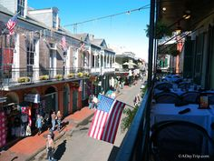 balcony overlooking french quarter in New Orleans, LA
