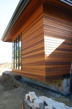 Cedar siding - for the bump, I like these colors Clear vertical grain cedar siding - Prefabricated House Wood Cladding Exterior, House Cladding, Timber Cladding, Exterior Siding, Western Red Cedar Cladding, Gros Morne, Cedar Siding, Wood Siding House, Mountain Home Exterior