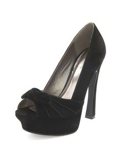 Velvet Pleated Bow-Front Pump: Charlotte Russe