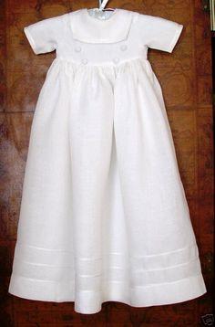 White Linen Christening Gown