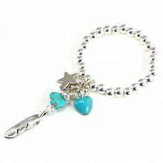Bibi Bijoux Star, Elephant, Heart and Feather Charm Bracelet - Bracelets
