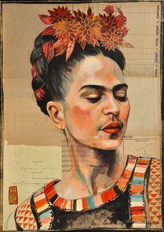 Frida Kahlo by Stephanie Ledoux Diego Rivera, Frida E Diego, Frida Art, Art Sur Toile, Ledoux, Illustration Art, Illustrations, Mexican Artists, Portraits