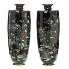 Pair of vases Japanese cloisonné Japan, Meiji period, metal cloisoné polychrome landscape with ducks, under black background. Possibly Namikawa Sosuke. Brand 'flower' in the base. Dim.: 19cm.