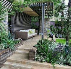 Garden Design Ideas & Inspiration : Recycled timber retaining wall at the Chelsea Flower Show. Pinned to Garden Design by Darin Bradbury. Garden Spaces, Small Garden, Home Garden Design, Small Garden Design, Garden Planning
