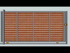 PORTÓN DE CORREDERA MADERAS HORIZONTALES - HORIZONTAL SLIDING WOOD GATE - YouTube Steel Gate Design, Front Gate Design, Main Gate Design, House Gate Design, Door Gate Design, Fence Design, Electric Driveway Gates, Electric Gates, Wooden Gate Designs