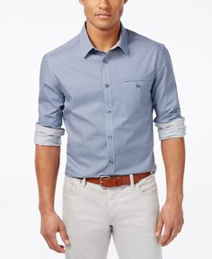 Kenneth Cole Reaction Men's Slim-Fit Dobby Long-Sleeve Shirt