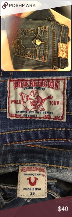 Sz 29 True Religion Joey Big T Jeans FREE GIFT WITH PURCHASE!! These are a pair of classically cool True Religion Joey Big T jeans. They are size 29 with an altered inseam of 29.5 inches. The only flaws are the very bottoms of the legs where the seams meet, which have some destruction (in last pic) it is barely noticeable IMO. Likely from rubbing against the floor! If you would like more pics, please let me know and we'll work something out! True Religion Jeans Flare & Wide Leg