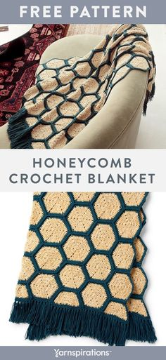 Free Honeycomb Crochet Blanket pattern using Bernat Velvet and Bernat Super Value yarns. Crochet in the round as you stitch double crochet, half double crochet, half double crochet through the back loop and more, to complete a cozy favorite for the whole family. #yarnspirations #freecrochetpattern #crochetblanket #hexagonblanket #geometricthrow #bernatyarn #bernatvelvet #bernatsupervalue