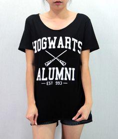 HOGWARTS ALUMNI Shirt Harry Potter Shirt Softly/Lightly T-Shirt T Shirt TShirt Tee Shirt Unisex - silk screen handmade