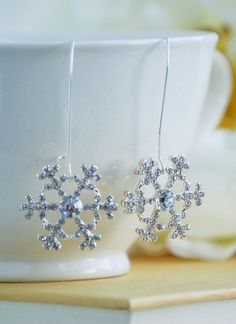 SNOWFLAKE Earrings SILVER Gold  Winter Wedding by redtruckdesigns