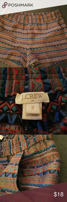 J.Crew shorts size 2 Elastic waist, size 2, tribal pattern, very trendy and comfortable. J. Crew Shorts