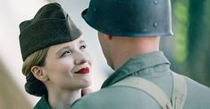 The way she looks at him. #cosplay #cinematic #cinema #military #reenactor #soldier #wwii #worldwar2 #costume #woman #portrait #look #redlipstick #sullysurloire #france #festival #heureshistoriques #agameoftones #vsco #portra160 #film