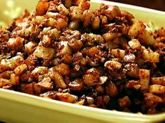 Sauteed Potatoes with Chorizo.  We will be serving these with a quesadilla grilled on the BBQ and then folded in half.  You unfold the quesadilla, stuff it with the chorizo mixture, fold it back up and enjoy!