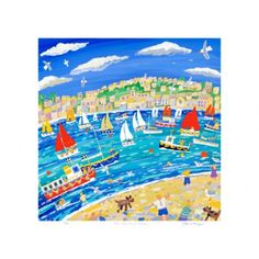 Art Print: Mad Dogs and Cornishmen, Falmouth Poster contemporary English landscape artist painting in a fun naive style Print Artist, Artist Painting, John Dyer, Sign Printing, Vintage Travel Posters, Custom Posters, Online Art, Design Art, Art Gallery