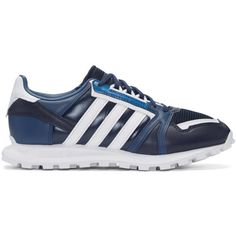 adidas x White Mountaineering Navy Leather Racing 1 Sneakers ($185) ❤ liked on Polyvore featuring men's fashion, men's shoes, men's sneakers, navy, mens navy shoes, adidas mens sneakers, mens leather shoes, navy blue mens shoes and mens navy blue sneakers