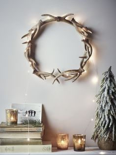 Faux Antler Wreath - Wreaths and Garlands - Christmas Decoration Christmas, Noel Christmas, Simple Christmas, Winter Christmas, Christmas Wreaths, Christmas Crafts, Winter Decorations, Scandinavian Christmas, Handmade Decorations