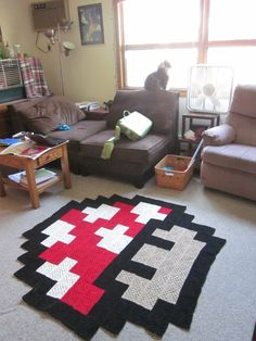 We'd love one of the Nintendo Super Mario mushroom rugs in our games room.