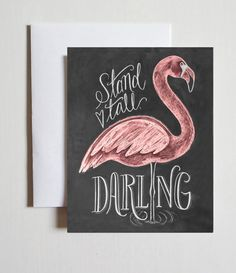 Flamingo Card Stand Tall Darling Encouragement by LilyandVal