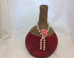 Decorated wine bottle by BoozyBirdDesigns on Etsy