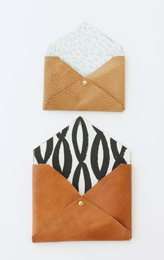 DIY leather envelope clutch (I would use vegan leather and refine the details but great template)
