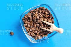 Royalty Free (RF) Photos / Vectors / Ready Made Logos / by BuzzPixelStock Coffee beans in bowl with wood spoon over blue background Wood Spoon, Photography For Sale, Coffee Beans, Blue Backgrounds, Vegetables, Breakfast, Food, Breakfast Cafe, Meal