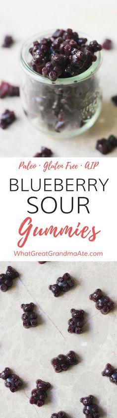 AIP, Paleo Blueberry Sour Gummies made with Grass-Fed Gelatin (Gluten Free) via @whatggmaate