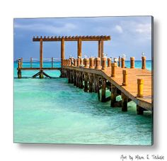 Overlooking A Pier On The Caribbean Sea - art by Mark E Tisdale - a tranquil view of beautiful Playa del Carmen - a little slice of paradise, eh?