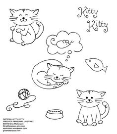 cute kitties free embroidery pattern By ginamatarazzostuff Gina Matarazzo