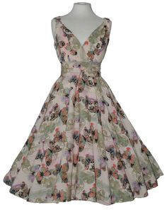 Ladies 1940s 1950s Vintage Style Butterfly Print Full Circle Tea Dress New 10-20